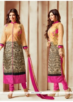 Fine Embroidered Work Cream Churidar Designer Suit