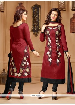 Intriguing Faux Chiffon Maroon Embroidered Work Churidar Salwar Kameez