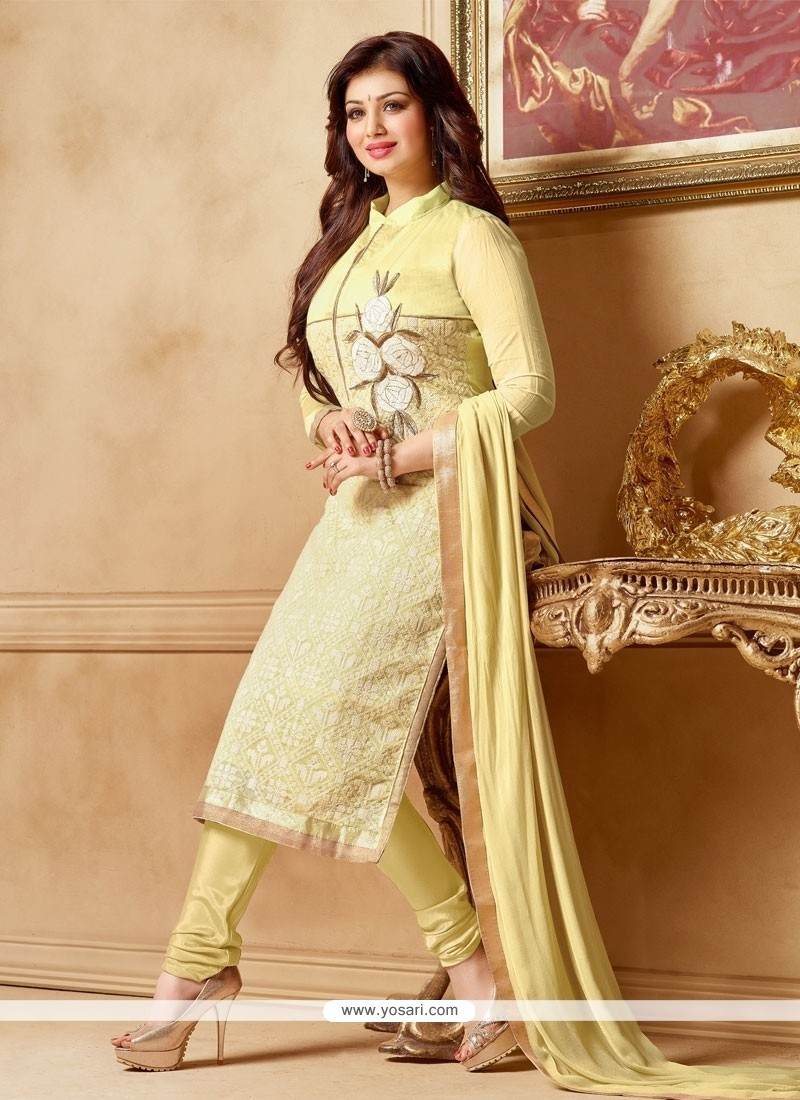 Perfervid Embroidered Work Faux Chiffon Churidar Designer Suit