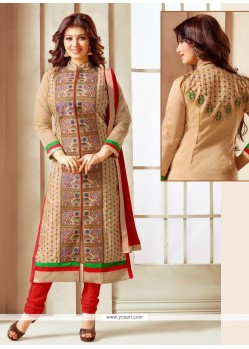 Girlish Faux Chiffon Churidar Designer Suit