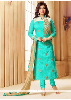 Impressive Faux Chiffon Turquoise Embroidered Work Churidar Designer Suit