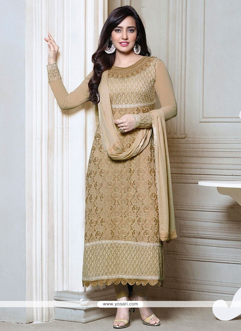 Neha Sharma Cream Resham Work Churidar Suit