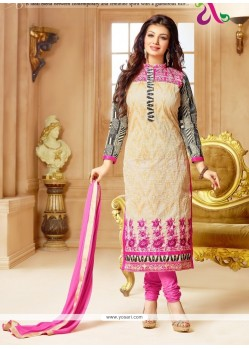 Innovative Embroidered Work Cream Faux Chiffon Churidar Designer Suit