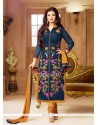 Prominent Faux Chiffon Navy Blue Churidar Designer Suit