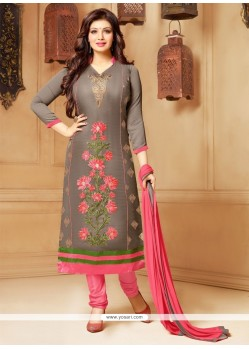 Delightsome Grey Embroidered Work Faux Chiffon Churidar Designer Suit