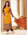 Enchanting Faux Chiffon Yellow Embroidered Work Churidar Designer Suit