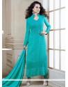 Kangana Ranaut Turquoise Blue Georgette Churidar Suit