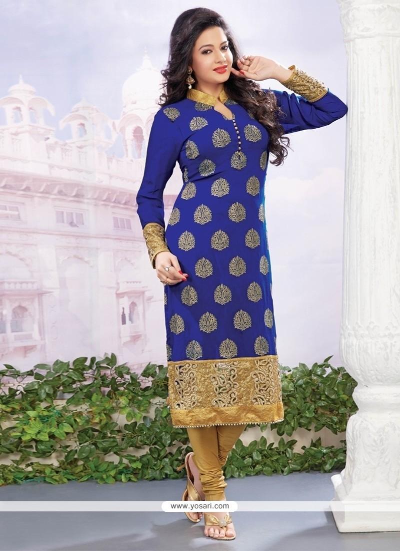 Gleaming Blue Zari Work Georgette Designer Straight Salwar Kameez