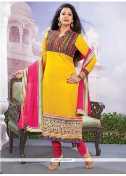 Astonishing Georgette Yellow Embroidered Work Designer Straight Salwar Kameez