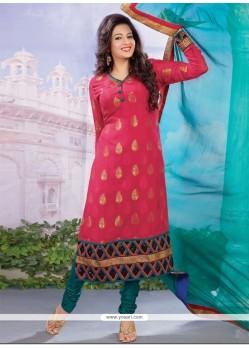 Artistic Viscose Hot Pink Designer Straight Salwar Kameez