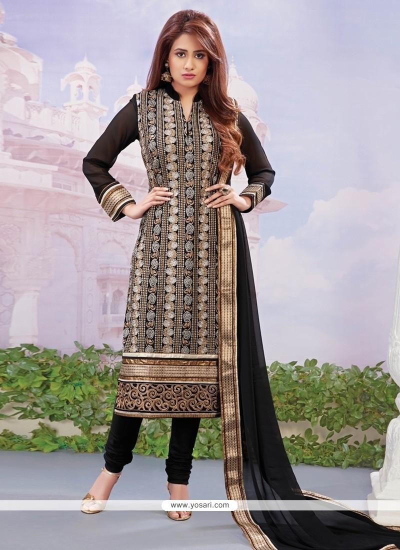 Awesome Georgette Black Embroidered Work Designer Straight Salwar Kameez