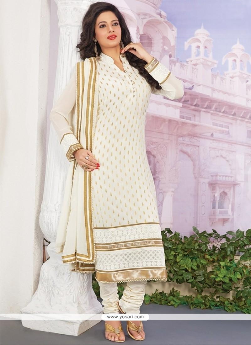 Vibrant Viscose Lace Work Designer Straight Salwar Kameez
