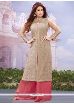 Distinctive Embroidered Work Pink Net Designer Palazzo Salwar Suit