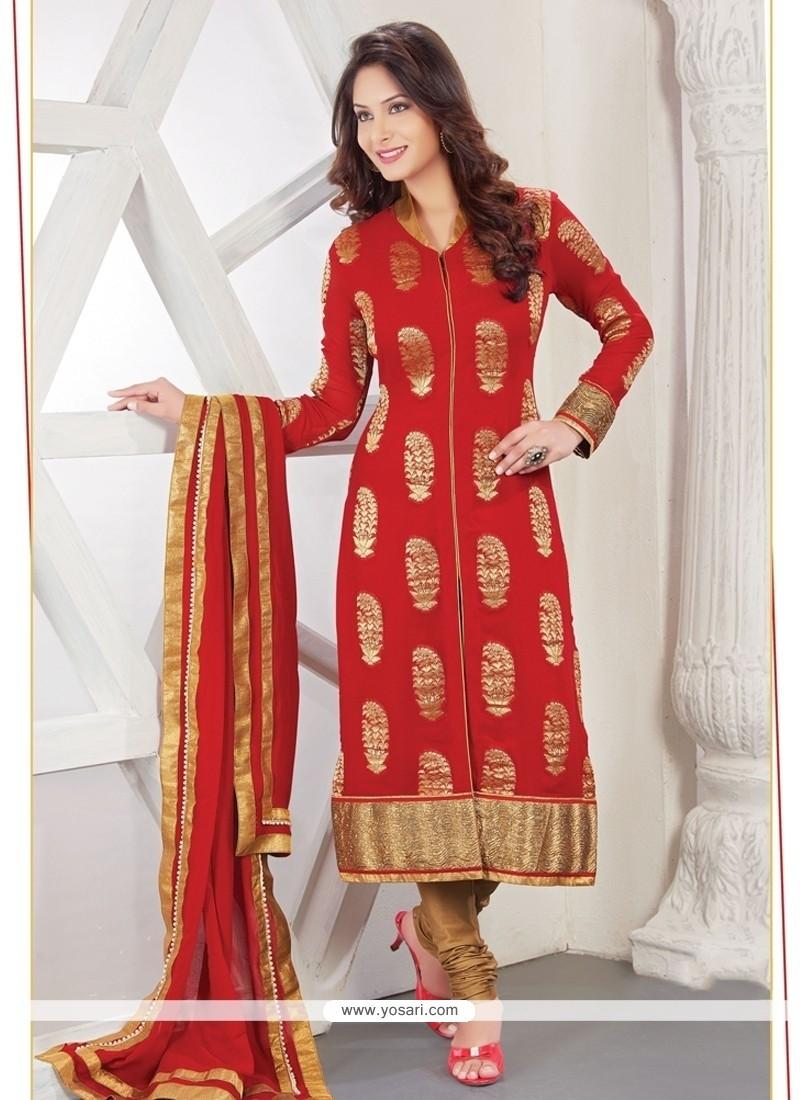 Invigorating Viscose Zari Work Designer Straight Salwar Kameez