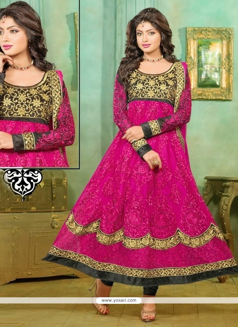 Perfect Magenta Net Designer Anarkali Suit