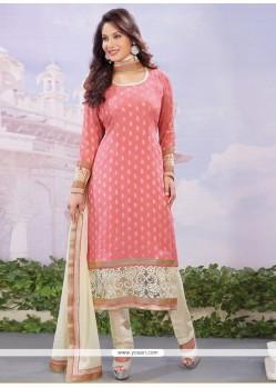 Intricate Viscose Hot Pink Resham Work Designer Straight Salwar Kameez