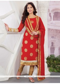 Distinctive Red Viscose Designer Straight Salwar Kameez