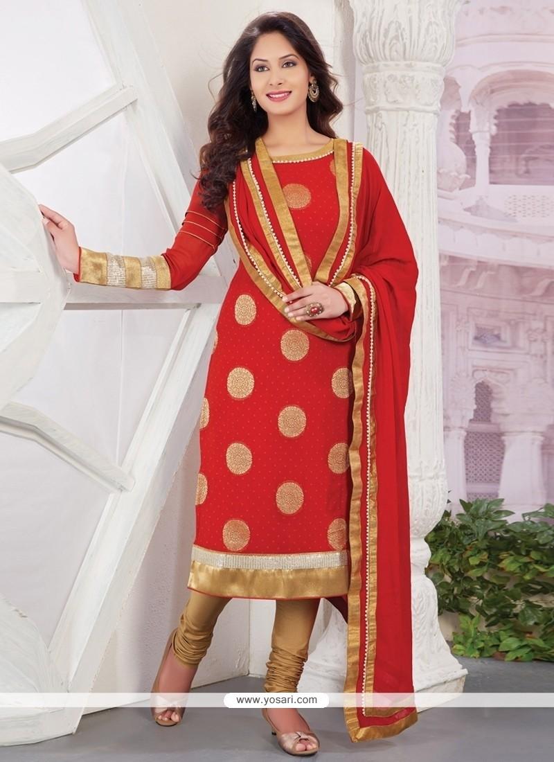 Distinctive Red Viscose Designer Straight Salwar Kameez