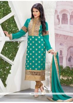 Staring Zari Work Designer Straight Salwar Kameez