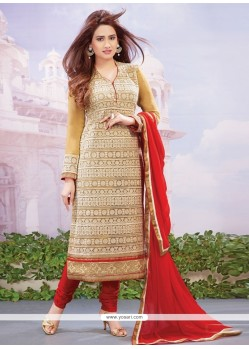 Sorcerous Red Embroidered Work Net Designer Straight Salwar Kameez