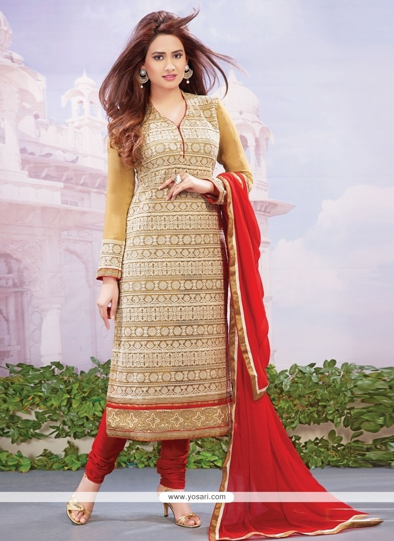 Sorcerous Red Embroidered Work Net Designer Straight Salwar Kameez