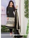 Observable Georgette Black Resham Work Designer Straight Salwar Kameez