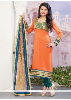 Eye-catchy Orange Georgette Designer Straight Salwar Suit