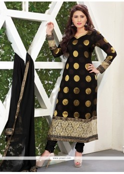 Hypnotic Black Lace Work Viscose Designer Straight Salwar Kameez
