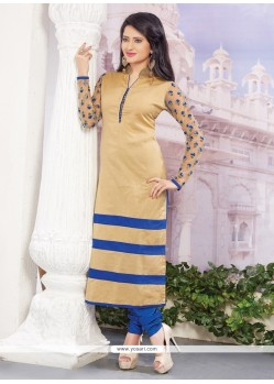 Appealing Cream Embroidered Work Designer Straight Salwar Kameez