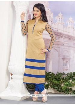 Appealing Cream Embroidered Work Designer Straight Salwar Kameez