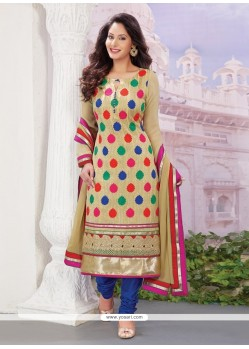 Glorious Beige Georgette Designer Straight Salwar Suit