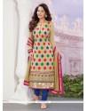 Glorious Beige Georgette Designer Straight Salwar Suit