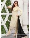 Mystic Resham Work Cream Net Designer Straight Salwar Kameez