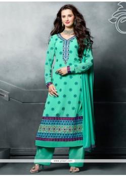 Riveting Resham Work Sea Green Designer Pakistani Suit