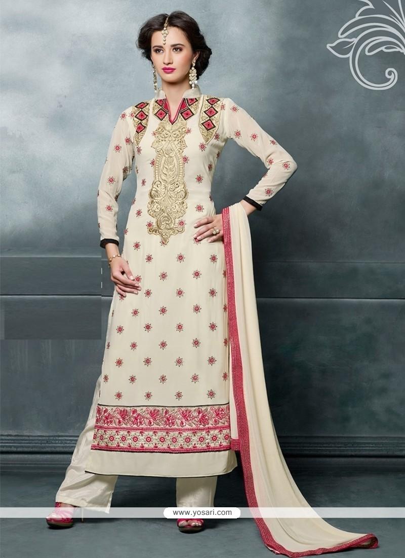 Savory Georgette Cream Designer Straight Salwar Kameez