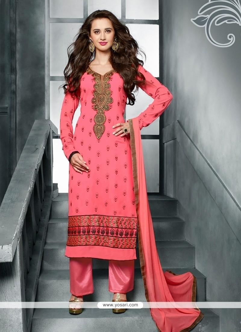 Immaculate Resham Work Georgette Pink Designer Pakistani Suit