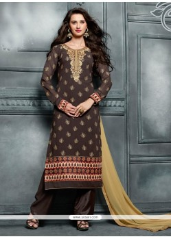 Delectable Resham Work Brown Georgette Designer Pakistani Salwar Suit
