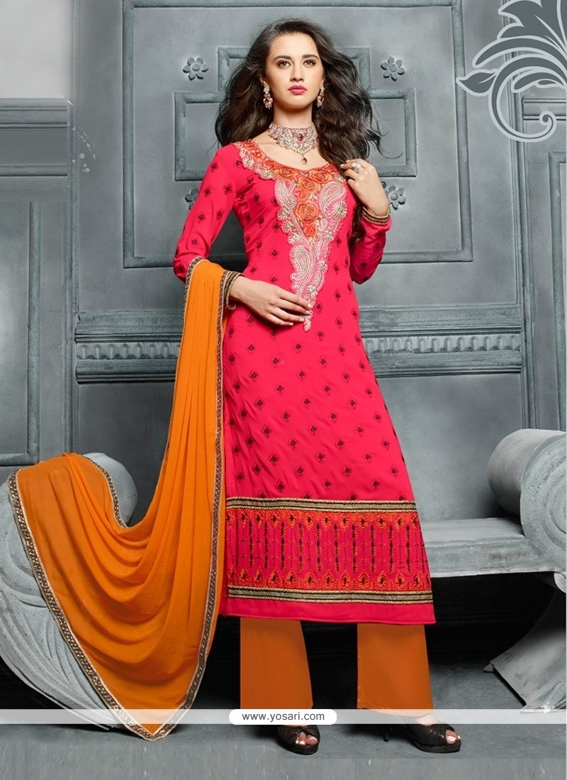 Catchy Georgette Hot Pink Designer Pakistani Suit