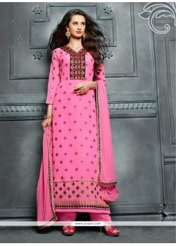 Noble Pink Lace Work Georgette Designer Straight Salwar Kameez