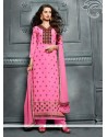 Noble Pink Lace Work Georgette Designer Straight Salwar Kameez