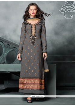 Refreshing Zari Work Georgette Green Designer Straight Salwar Kameez