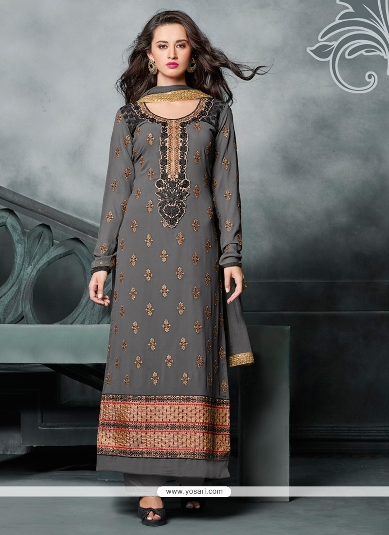 Refreshing Zari Work Georgette Green Designer Straight Salwar Kameez