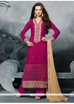 Lovable Hot Pink Designer Straight Salwar Kameez