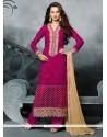 Lovable Hot Pink Designer Straight Salwar Kameez