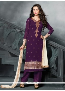 Trendy Resham Work Purple Designer Pakistani Salwar Suit