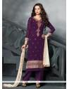 Trendy Resham Work Purple Designer Pakistani Salwar Suit