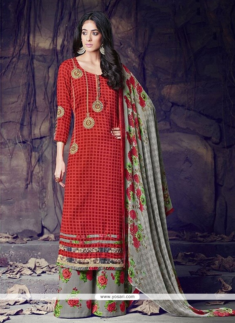 Picturesque Red Designer Palazzo Salwar Suit
