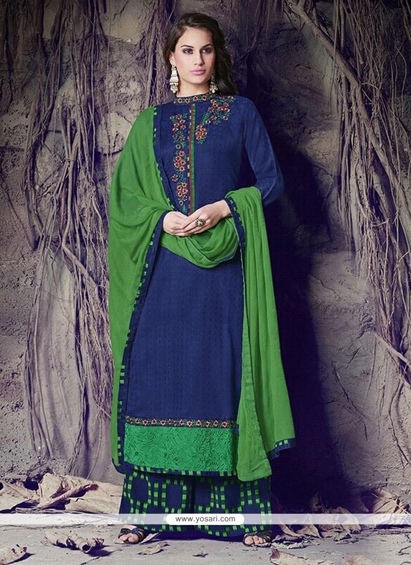 Astonishing Blue Designer Palazzo Salwar Suit