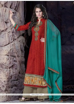 Extraordinary Lace Work Cotton Designer Palazzo Suit