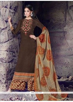 Lovely Cotton Brown Designer Palazzo Suit